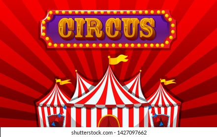 A fantasy circus banner  illustration