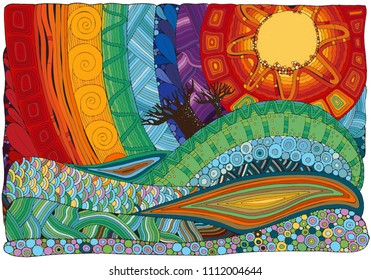 Fantasy color picture.The hot sun,  beautiful landscape, trees. Sunlight. Mountains and plains. Eco theme. Hand-drawn, ethnic, doodle, vector, zentangle.