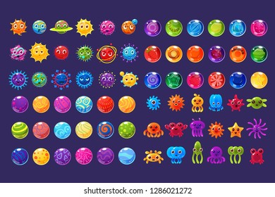 Fantasy colorful icons, collection for game design, microbe, ufo, sea creatures elements for mobile game assets vector Illustration