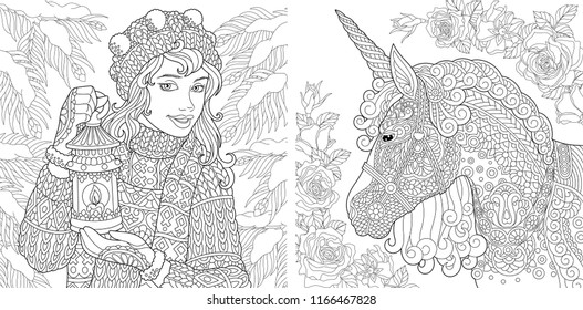Fantasy Coloring Pages. Coloring Book for adults. Colouring pictures with winter girl and magic unicorn. Antistress freehand sketch drawing with doodle and zentangle elements.