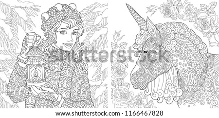 Fantasy Coloring Pages Coloring Book Adults Stock Vector Royalty