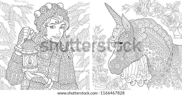 Fantasy Coloring Pages Coloring Book Adults Stock Vector ...