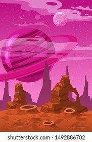 Fantasy concept space cartoon game background. Fantastic sci-fi alien planet landscape for a space arcade game level design. Vector isolated