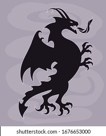 Fantasy conceptual silhouette illustration of a fire breathing dragon in a tattoo drawing style