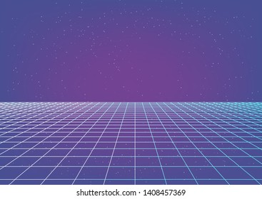 Fantasy cosmic virtual reality retrofuturistic cyber landscape of arcade video game with neon 3d laser grid. Synthwave/ vaporwave/ retrowave style illustration, aesthetics of 80s-90s.