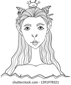 Fantasy creature. Portrait of mermaid with long hair, jewelry made of shells and crabs. Digital stamp. Coloring. Vector.