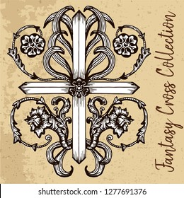 Fantasy cross with baroque leaves and flowers patterns on texture background. Vintage vector decorative religious illustration, old gothic graphic drawings