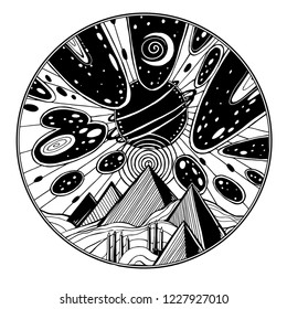Fantasy desert sand landscape with pyramids, dunes, and surreal sky with meteor strike. UFO and ancient Egypt tattoo art. Aliens tattoo art. Space, sci-fi symbols, travel, futurism. Isolated vector.