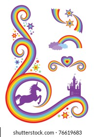 Fantasy design elements featuring a unicorn and castle.