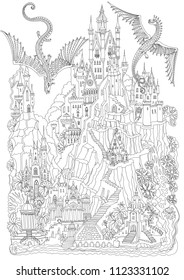 Fantasy doodle landscape. Fairy tale castle on a hill. Fantastic mountain, palm tree, garden, river, waterfall, flying dragons. Black and white T-shirt print. Album cover.  Coloring book page for adul