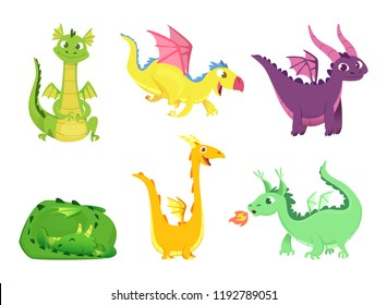 Fantasy dragons. Cute reptiles amphibians and fairytale dragons with big wings sharp tooth wild creatures vector cartoon. Illustration of monster and dinosaur character, animal legend and story