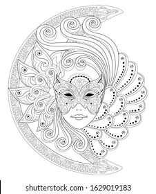 Fantasy drawing of girl face in beautiful Venetian carnival mask. Black and white page for coloring book. Poster for fashion and beauty. Modern print, embroidery, decoration. Hand-drawn vector image.