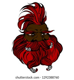 Fantasy dwarf engineer face. Colored outline fairy character. Man with big beard, iroquois, moustache. Red head man for barber shop. Creature from wonder land. Red gaffer. Funny oldster