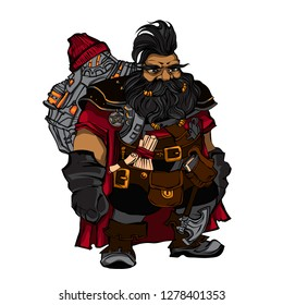 Fantasy dwarf engineer. Outline fairy character. Man with beard, iroquois, backpack, lantern, boots, axe. colored gnome for childrens book. Creature for wonder land.