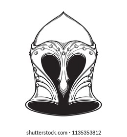 Fantasy Elven Helmet. Heraldry element. Black a nd white drawing isolated on white background. EPS10 vector illustration