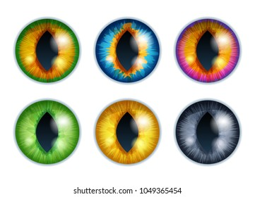 Fantasy eyes set - assorted colors. Iris pupils design. Cat or snake eyes. Color contact lenses. Colorful vector illustration.