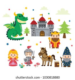 Fantasy Fairy Tale Clipart with different characters: princess, knight, dragon, wizard and king plus castle, tree, mushrooms, flowers, cloud and stars... all is 100% vector and well layered