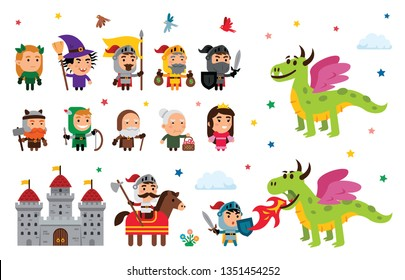 Fantasy Fairy Tale Clipart with different characters: princess, knights, dragon, wizard and witch king, dwarf, elders, elf and a castle! all is 100% vector and well layered