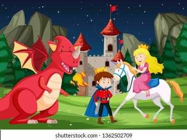 A fantasy fairy tale story scene illustration