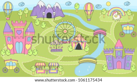 Fantasy Fairy Tale World Princess Castle Stock Vector Royalty Free