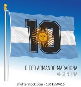 Fantasy flag of Diego Armando Maradona number ten, Argentina, vector illustration