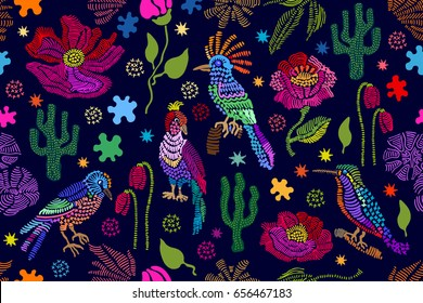 Fantasy floral embroidery. Seamless vector pattern with birds, plants and flowers. Vintage motifs. Retro textile design collection. Colorful on dark.