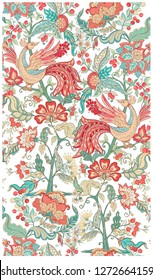 Fantasy floral seamless pattern in jacobean embroidery style, vintage, old, retro style.  Vector illustration in soft coral and turquoise colors Isolated on white background.