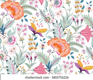 Fantasy floral seamless pattern in Jacobean embroidery style, vintage, old, retro style.