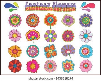 Fantasy Flowers Psychedelic Hippie Art Style
