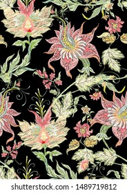 """Fantasy flowers in retro, vintage, jacobean embroidery style. Seamless pattern, background. Embroidery imitation  Colored vector illustration."""""""