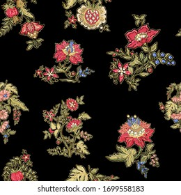 Fantasy flowers in retro, vintage, jacobean embroidery style. Embroidery imitation with beads and sequins. Seamless pattern, background. Vector illustration.