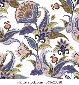 Fantasy flowers seamless paisley pattern. Wrapping print. Stylized decoration wallpaper of India. Floral ornament, for fabric, textile, cards, wrapping paper, wallpaper.Ornamental paisley background
