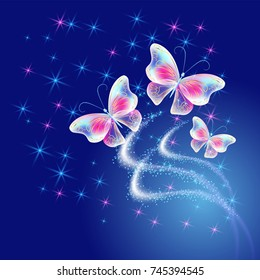 Fantasy flying butterflies with  firework and glowing salute