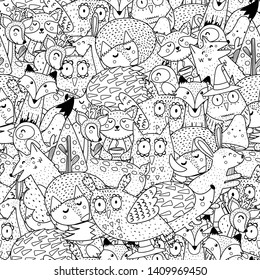 Fantasy forest animals black and white seamless pattern. Great for  coloring page, prints, backgrounds, textile and fabric. Vector illustration