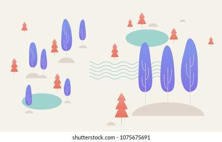 fantasy forest background vector illustration flat design