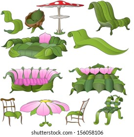 fantasy furniture made from leaves and flower petals