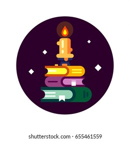 Fantasy game flat books icon. Magic books and a candle in the mystical night. Vector stock illustration.