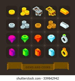 Fantasy game icons set: gems and coins: gold, silver coins, treasure chest, different gems, golden and silver bars, precious rings. Flat stock vector illustration icon set.