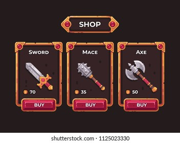 Fantasy game weapon shop concept. Game shop UI frame illustration.