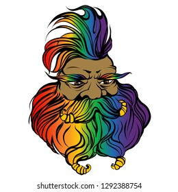 Fantasy gay dwarf engineer face. Rainbow colored outline fairy character. Man with big beard, iroquois, moustache. Gay pride man for barber shop. Creature from wonder land.  gaffer. Funny oldster