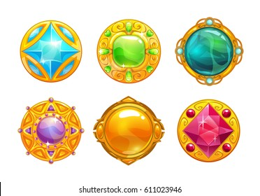 Fantasy golden amulets set. Vector round assets for game design.