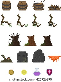 Fantasy graphic-pack.Pixel-style graphic-pack for game. Include traps, items, decoration and misc.Vector illustration