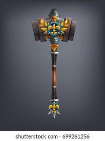 Fantasy hammer weapon for game or cards. Vector illustration.