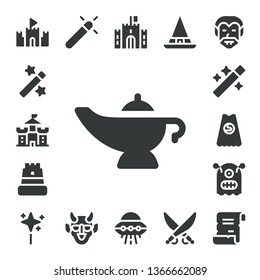fantasy icon set. 17 filled fantasy icons.  Simple modern icons about  - Sand castle, Magic, Castle, Magic lamp, Wand, Superhero, Monster, Hannya, Ufo, Witch, Saber, Dracula, Spell