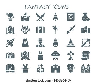 fantasy icon set. 30 filled fantasy icons.  Simple modern icons about  - Magic, Castle, Saber, Rocket, Creature, Love potion, Spaceship, Hannya, Chest, Wand, Superhero, Magician