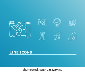 Fantasy icon set and old script with quest list, dungeon and old map. Jingle related fantasy icon vector for web UI logo design.