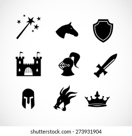 Fantasy icon set vector