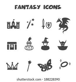 fantasy icons, mono vector symbols