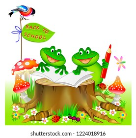 Fantasy illustration of cute little frogs learning to read and to write. Back to school. Cover for children school textbook. Hand-drawn vector cartoon image.
