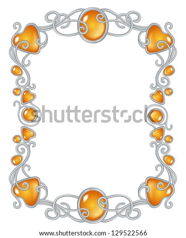 Fantasy Jewel Frame Template Silver Ember Stock Vector (Royalty Free ...